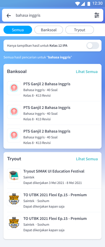 Fitur Search Bank Soal