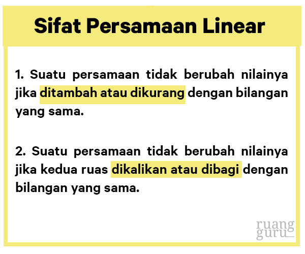 sifat persamaan linear